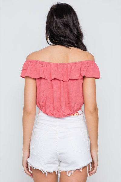 Coral Off-the-shoulder Flounce Crop Boho Top