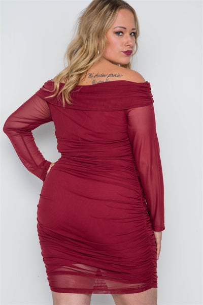 Plus Size Burgundy Off-the-shoulder Mash Mini Dress