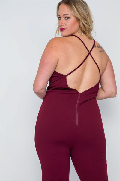 Plus Size Burgundy Surplice Neck Cami Open Back Jumpsuit