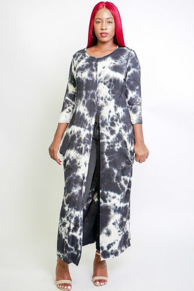 Tie Dye, Long Body Tunic Top In A Fitted Style, With 3/4 Sleeves, A Round Neck, Pockets, And A Front Slash Slit
