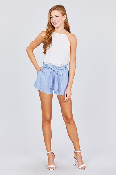 Paper Bag W/bow Tie Yarn Dye Stripe Short Pants