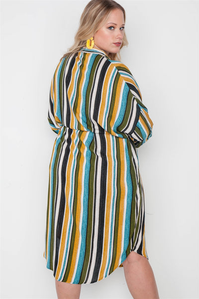 Plus Size Stripe Button Down Shirt Dress