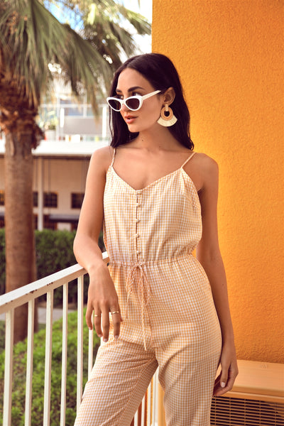 Yellow Cami Strap Gingham Open Back Boho Jumpsuit