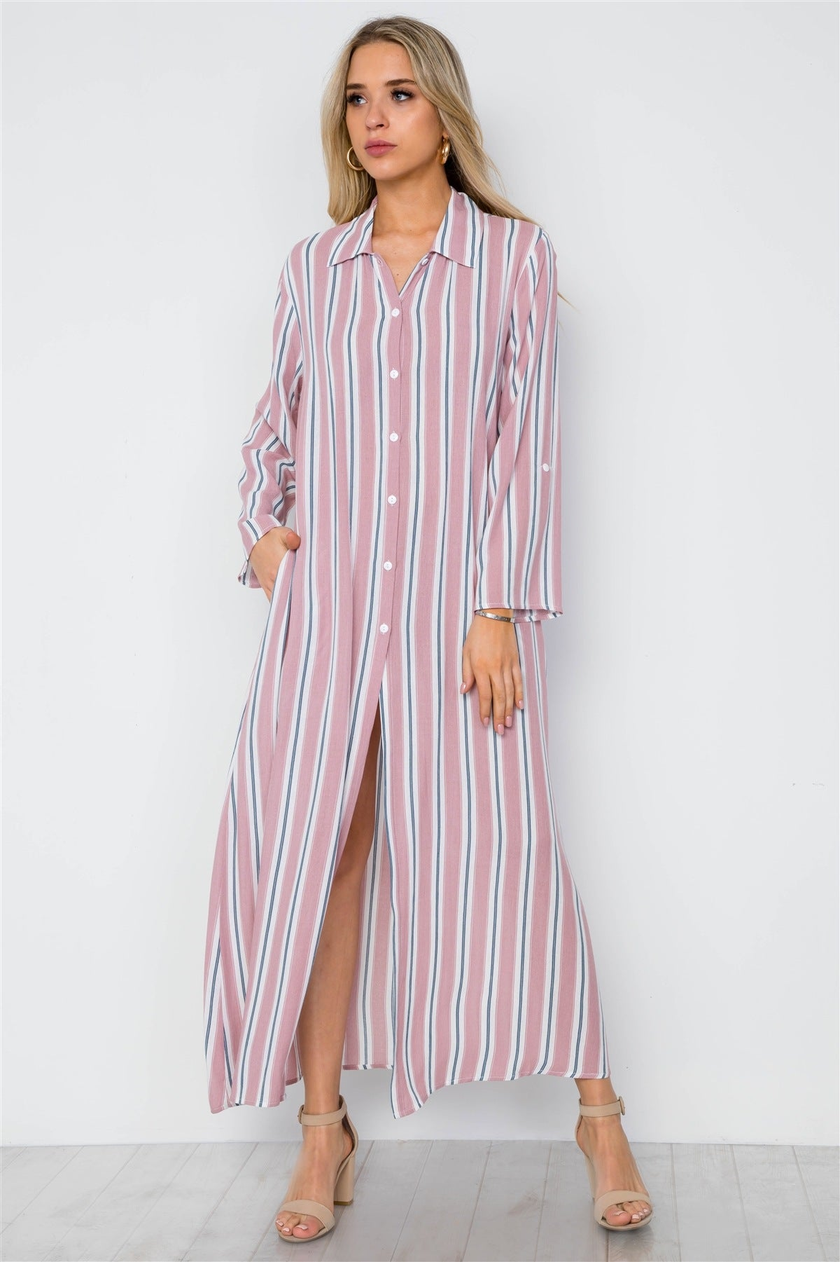 Mauve Multi Stripe Button Down Dress Maxi Blouse Shirt