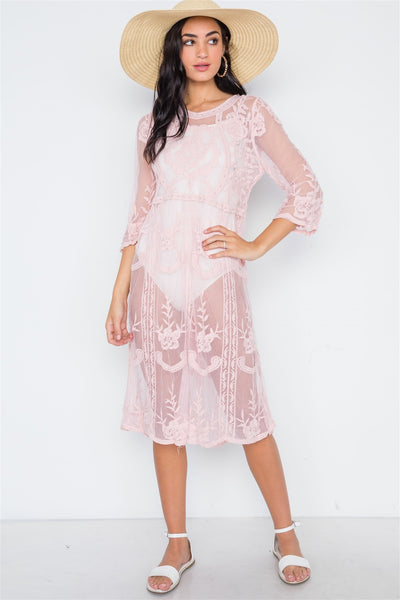 Dusty Pink Floral Embroidery Tunic Dress