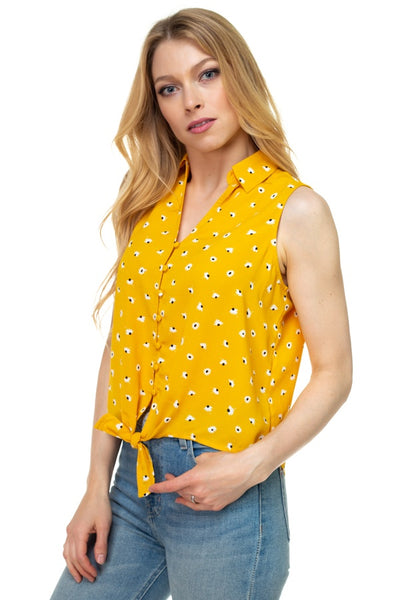 Floral Ditsy Knotted Sleeveless Top