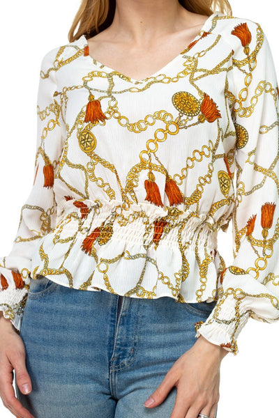 Long Sleeve Baroque & Chain Print Top
