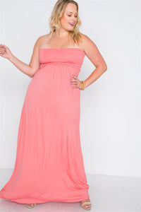 Plus Size Solid Strapless Maxi Tube Dress