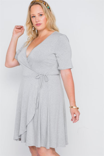 Plus Size Grey Surplice Neck Short Sleeve Solid Dress
