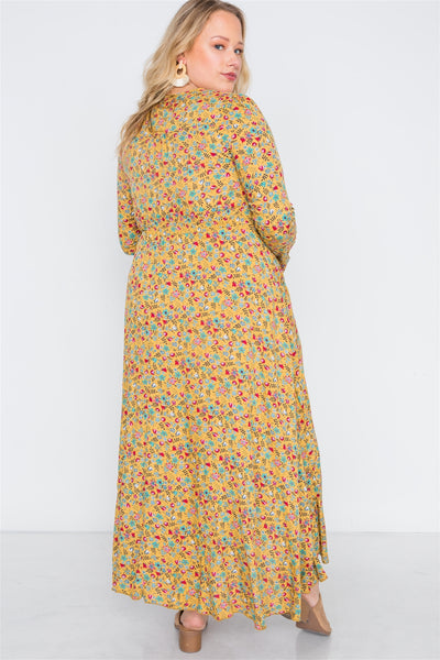 Plus Size  Floral Print Button Down Maxi Dress