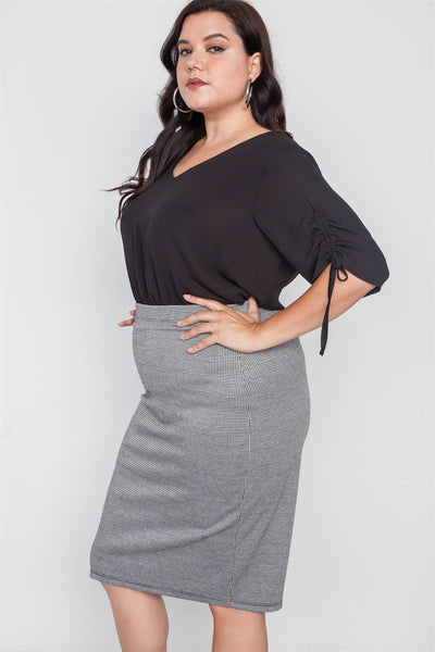 Plus Size Black White Plaid Pencil Skirt