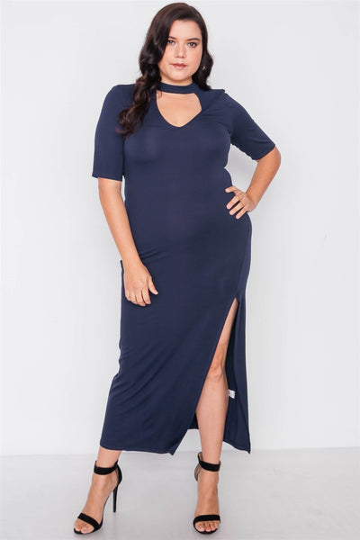 Plus Size Site Slit Mock Neck Maxi Dress