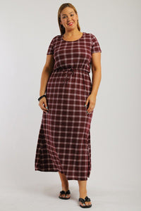 Plaid, Ankle Length Maxi Dress