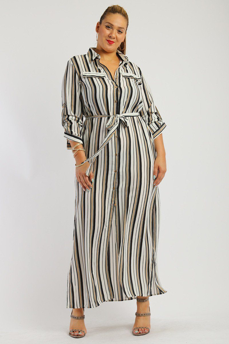Stripe, Full Length Button Down Shirt Dress