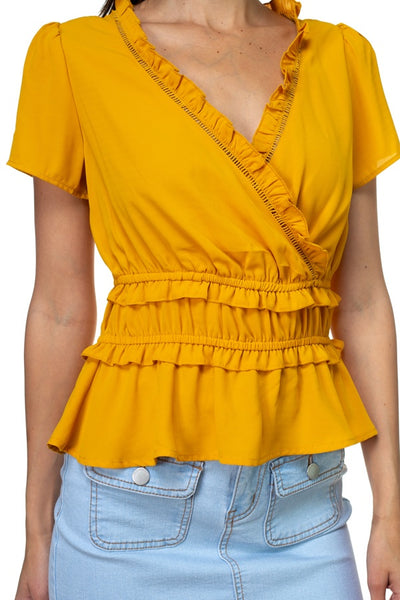 Shirring Ruffle Cropped Top