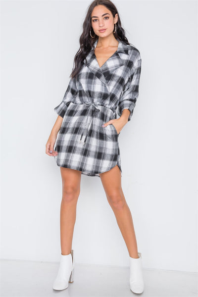 Black Plaid Long Sleeve Casual Mini Dress