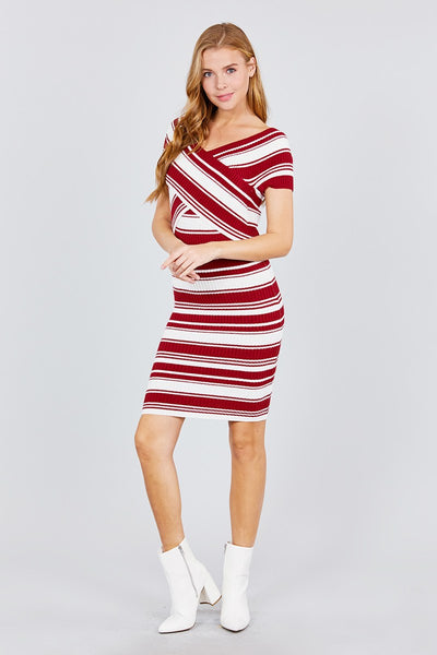 Short Sleeve V-neck W/cross Wrap Multi Stripe Sweater Dress