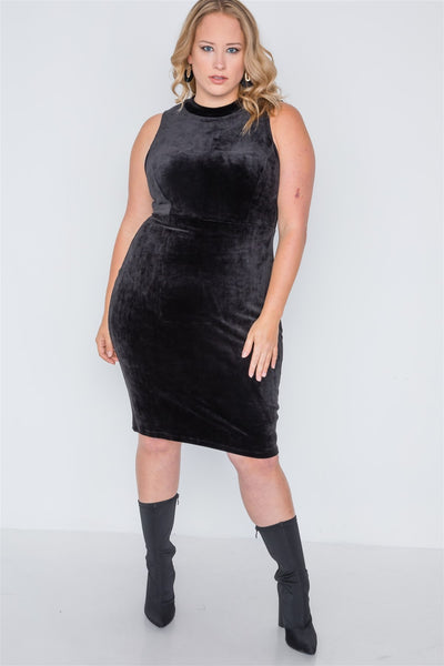 Plus Size Sleeveless Bodycon Soft Midi Dress