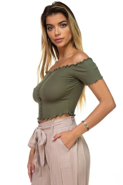 Hook & Eye Ribbed Off The Shoulder Top