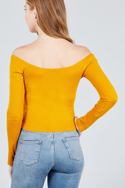 Long Sleeve Off The Shoulder Button Down Rayon Spandex Rib Knit Top