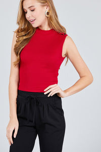 Sleeveless Mock Neck W/shoulder Button Detail Rayon Spandex Rib Crop Knit Top