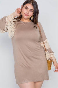 Mocha And Ivory Plus Size Crochet Mini Boho Dress
