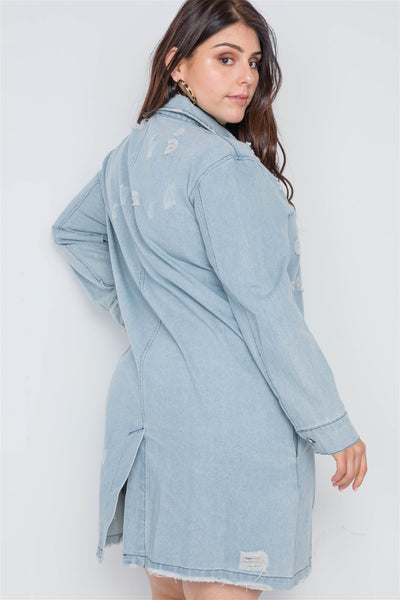 Plus Size Distressed Long Sleeves Denim Jacket