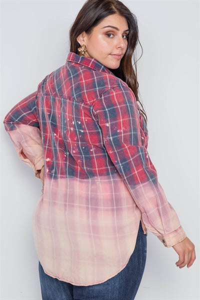 Plus Size Burgundy Plaid Bleach Dye Button Down Top