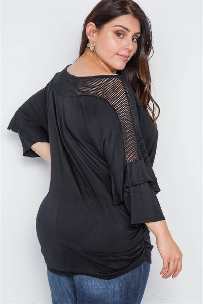 Plus Size Black Net Combo 3/4 Sleeve Top