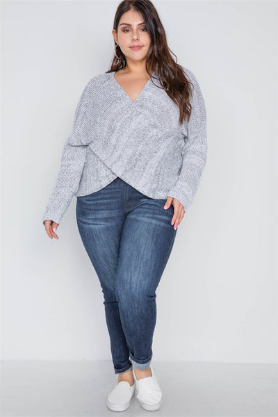 Plus Size Grey Heather Cross-front Knit Sweater