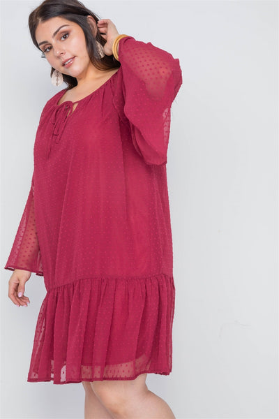 Plus Size Burgundy Bell Sleeves Shirred Dress