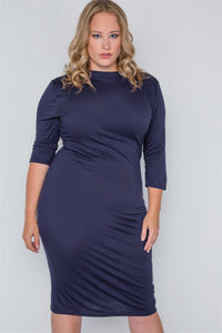 Plus Size Navy Basic Bodycon 3/4 Sleeve Dress
