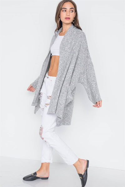 Charcoal Heather Open Front Soft Casual Cardigan