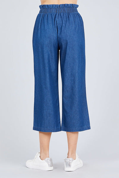 Front Button Up Frill Detail High Waist Chambray Pants