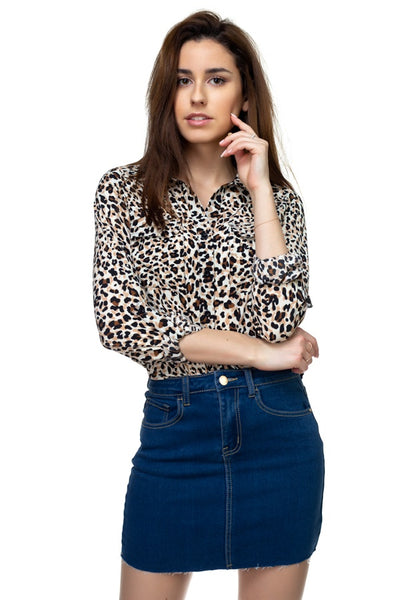 Cheetah Print Double Pocket Shirt