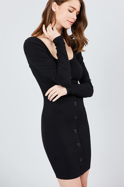 Long Sleeve U-neck Front Button Detail Rib Mini Dress