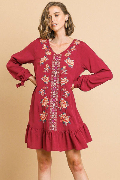 Floral Embroidered Long Sleeve V-neck Ruffle Hem Dress With Sleeve Ties And Crochet Details