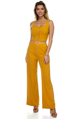 Ribbed Button Tank Top & Wide Leg Pants