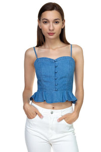 Denim Button Down Ruffle Crop Top