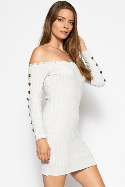Off The Shoulder Knit Sweater Dres