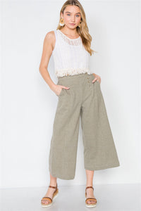 Knit Side Button Wide Leg Ankle Pants