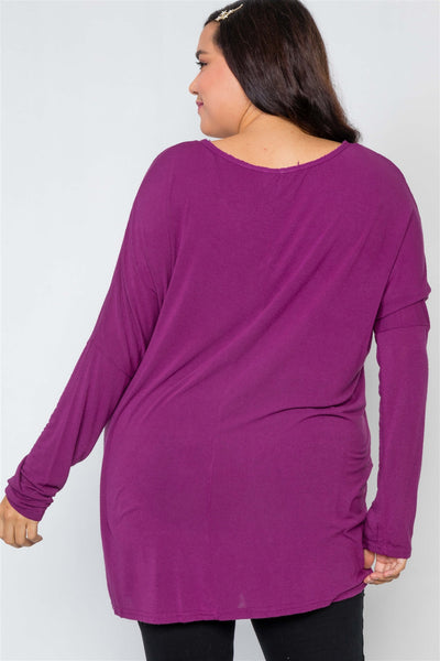 Plus Size Basic Over Sized Long Sleeve Top