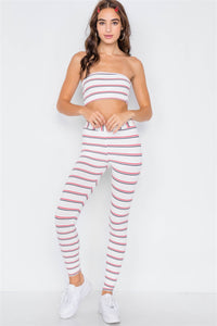 Multi Stripe Ribbed Crop Tube Top & Ankle Legging Set