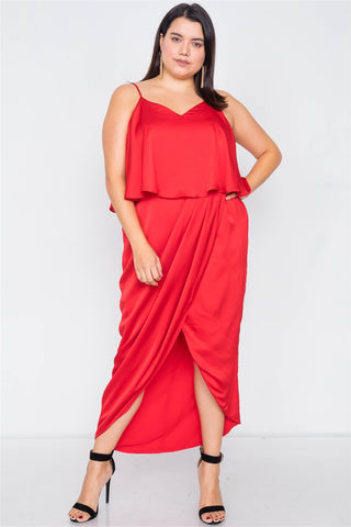 Plus Size Satin Flounce Bandage Midi Dress