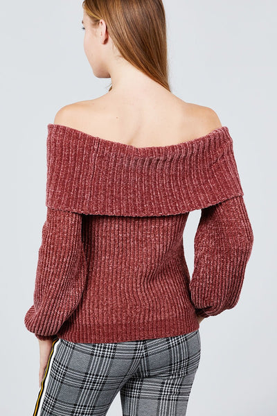 Long Sleeve Fold Over Off The Shoulder Chenille Sweater