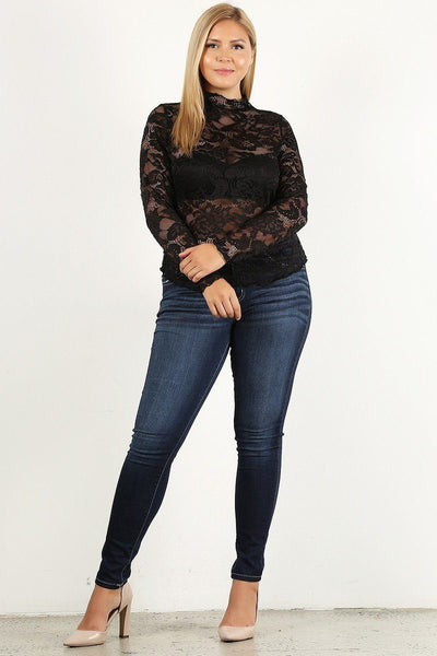 Plus Size Lace Long Sleeve Top With Fitted Bodice, Sheer, And Mock Neckline
