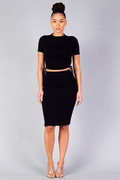 High Neck Short Sleeve Ruched Tee & High-waisted Midi Skirt Set