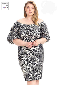 Plus Size  Animal Print Crepe Stretch Bodycon Dress