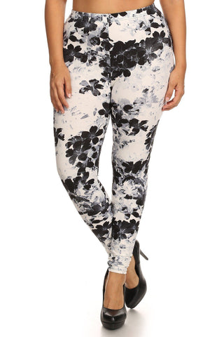 Super Soft Peach Skin Fabric, Floral Graphic Printed Knit Legging