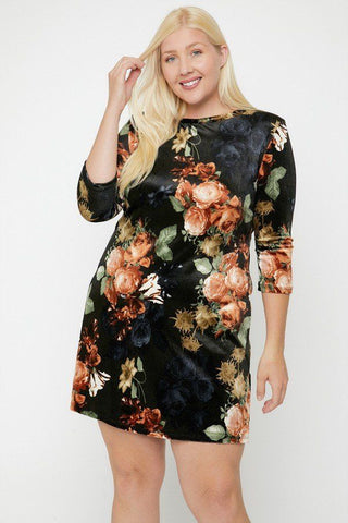 Velvet Dress Featuring A Lovely Floral Print